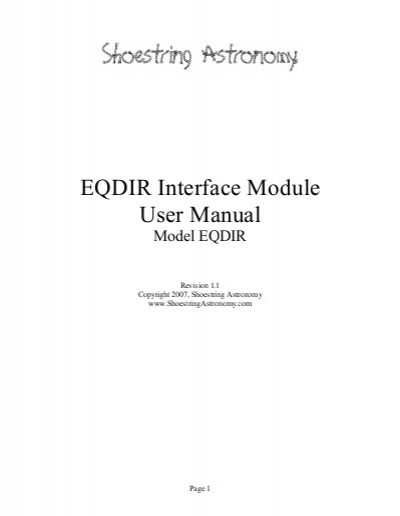 EQDIR Interface Module User Manual.