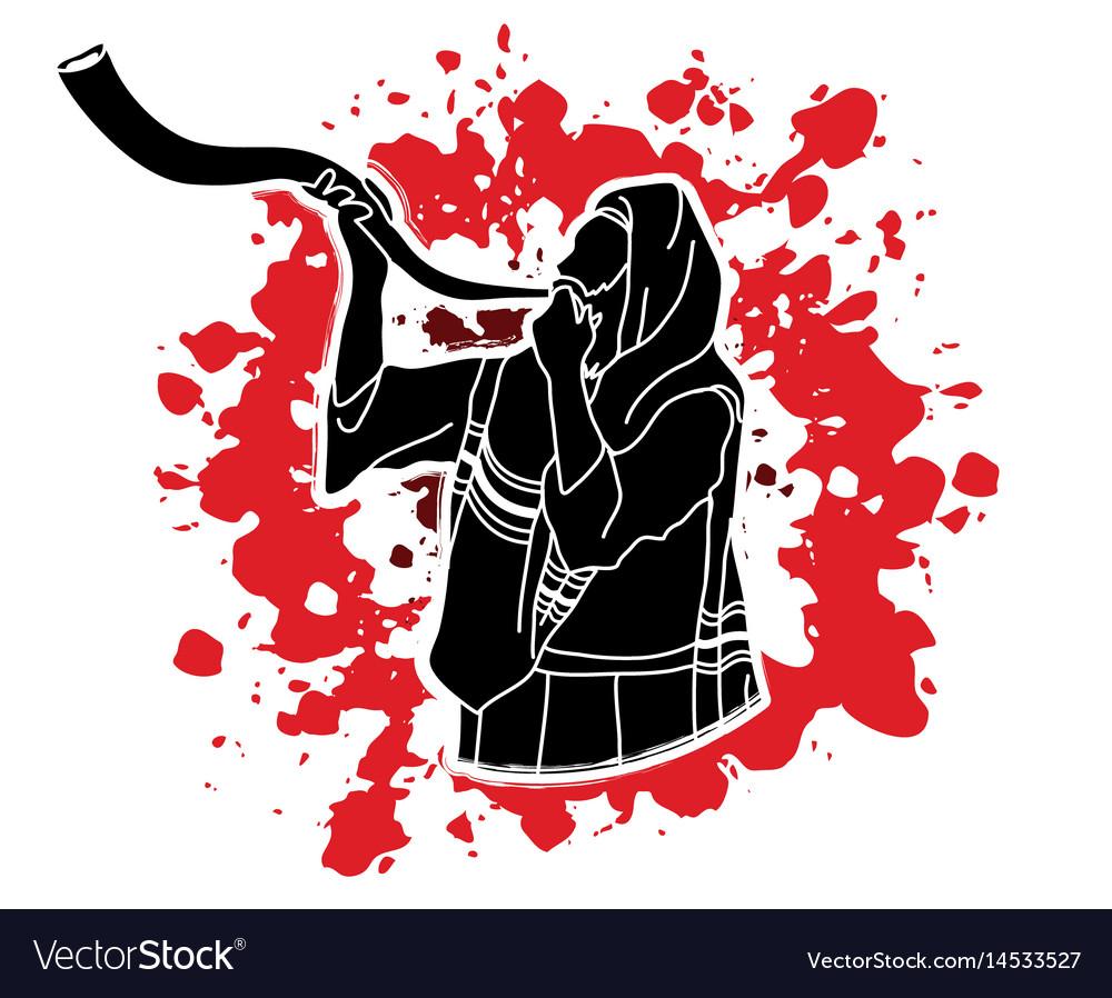 Jew blowing the shofar kudu big horn.