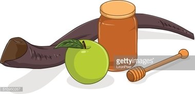 Honey Jar Apple and Shofar for Yom Kippur stock vectors.