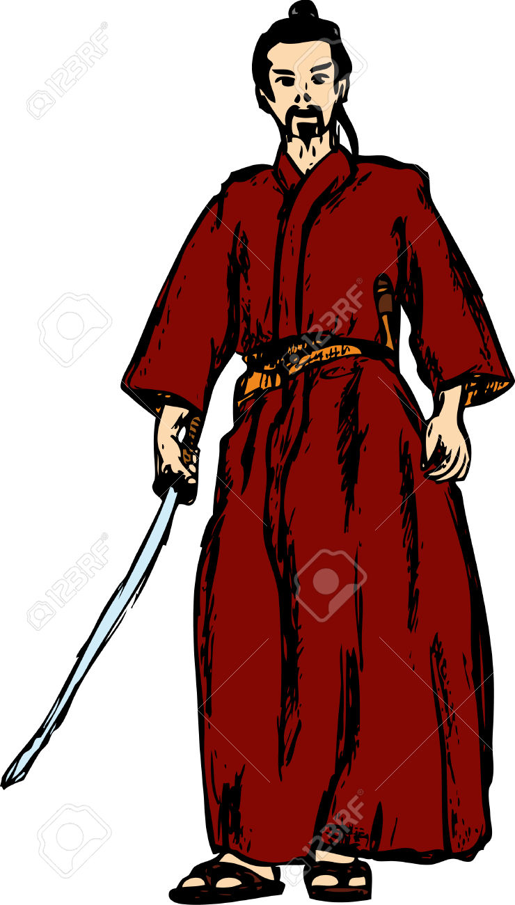 Ancient Samurai Isolated On Background Royalty Free Cliparts.