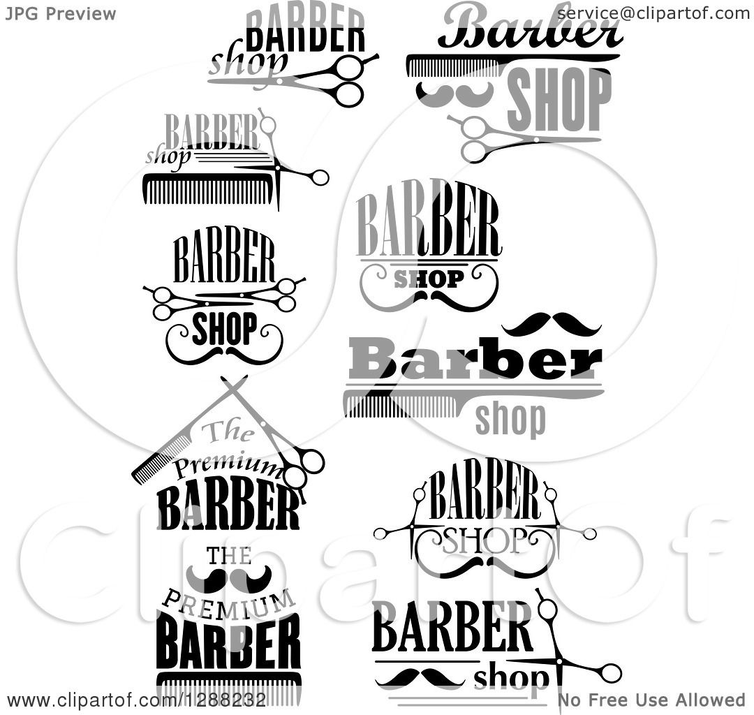 Clipart of a Black and White Barber Shop Designs 3.