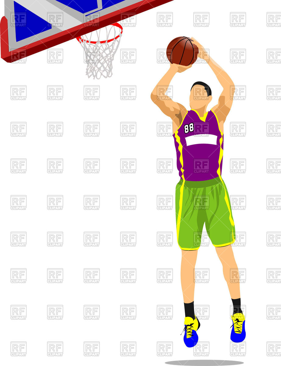 Basketball Player Shooting Clipart Color.