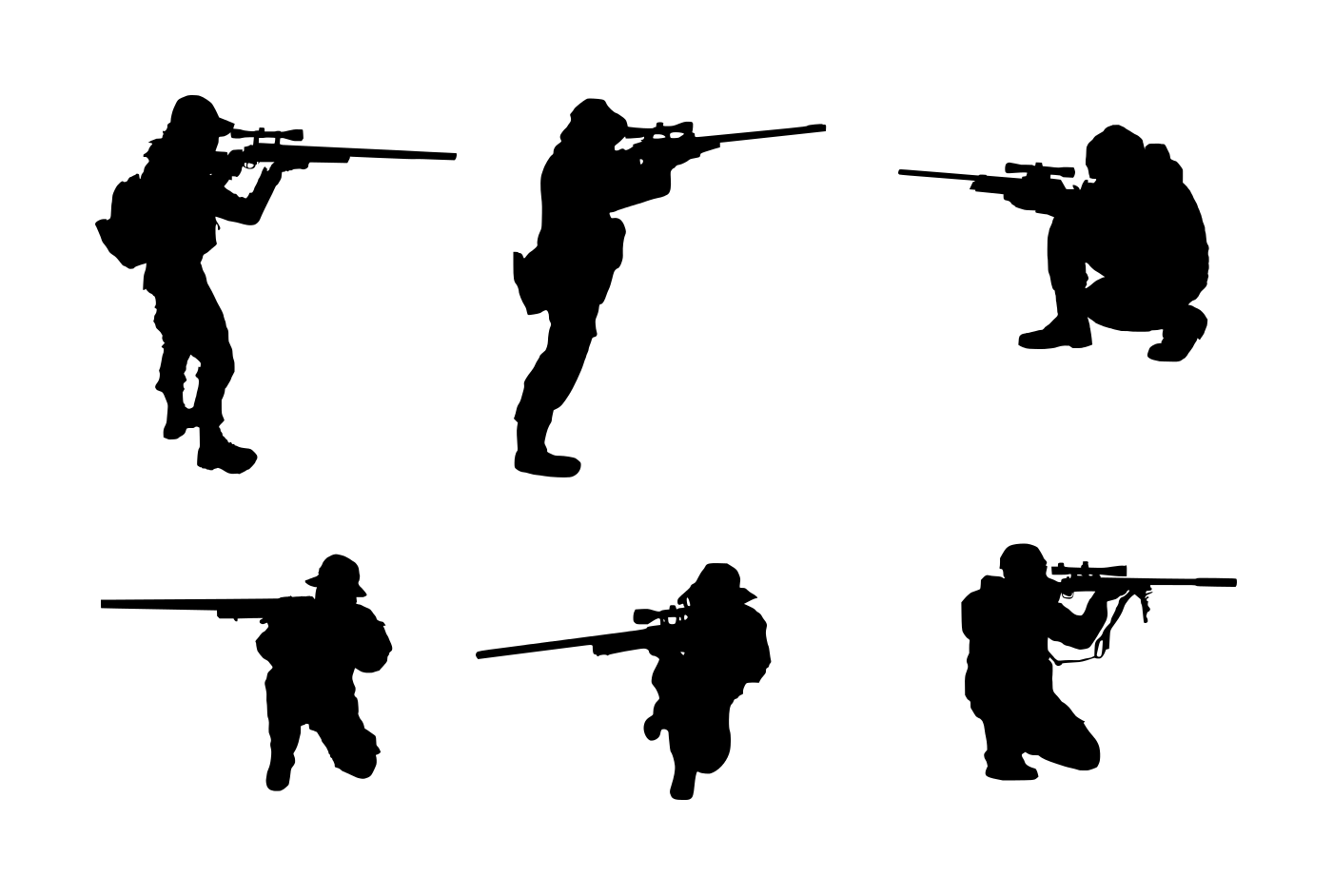 6 Sniper Shooter Silhouette (PNG Transparent).