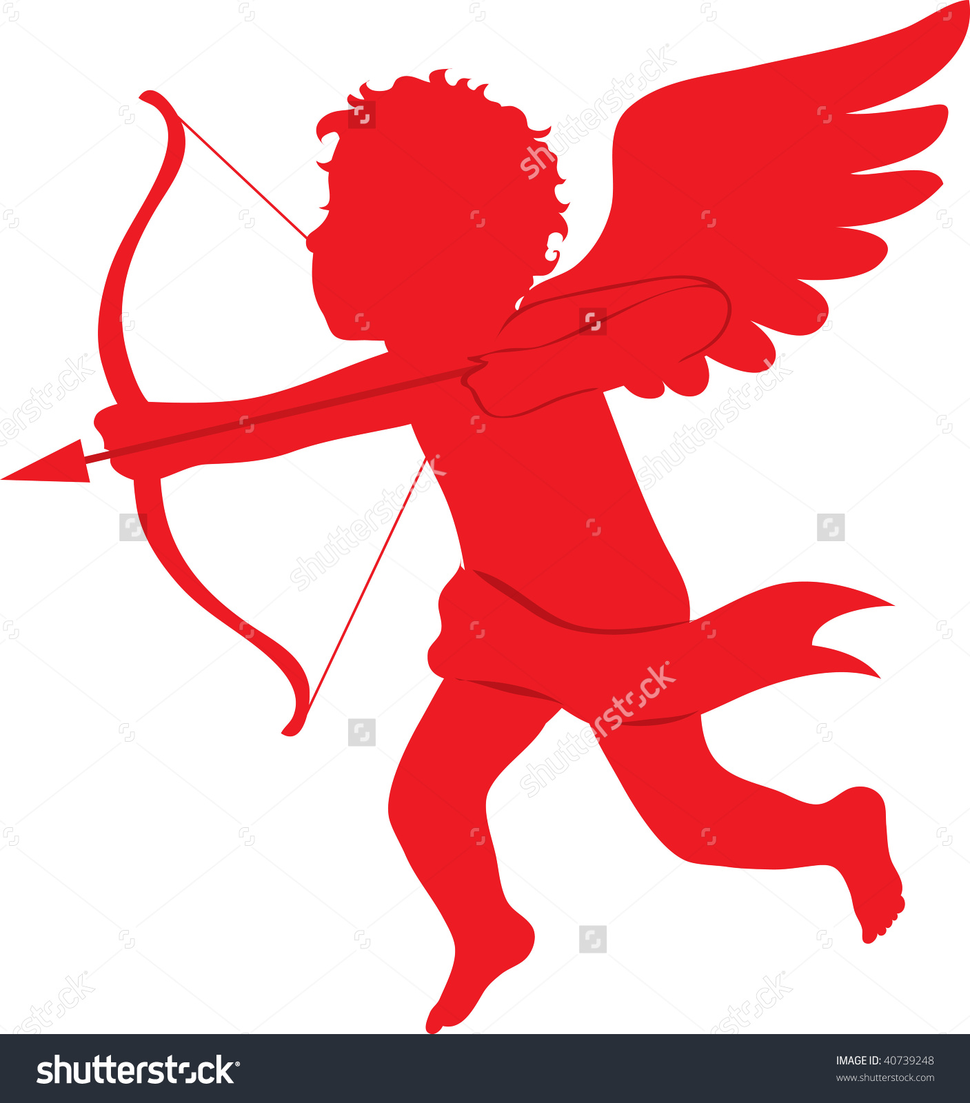 Clip Art Illustration Red Silhouette Cupid Stock Illustration.