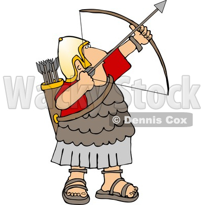 Army Soldier Shooting a Bow and Arrow Clipart © Dennis Cox #5074.