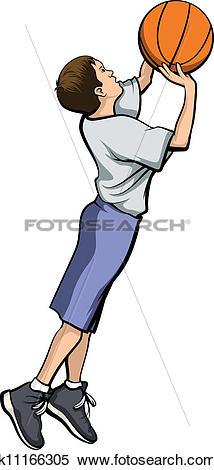 Clipart of Boy Shooting a Basketball k11166305.