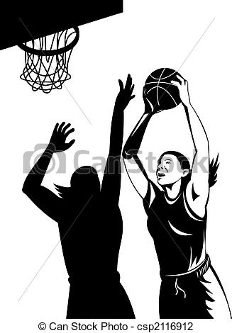 Clip Art of Woman basketball player shooting ball.