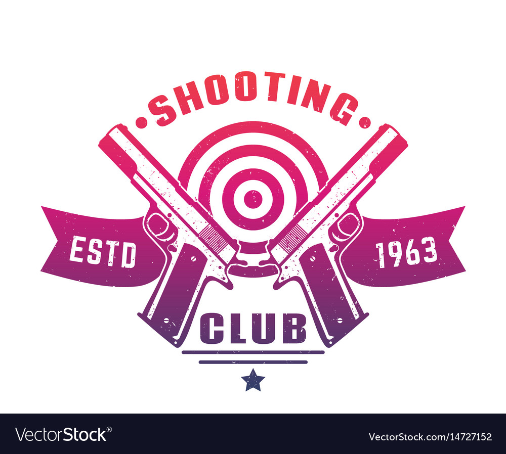 Shooting club logo emblem badge with two pistols.