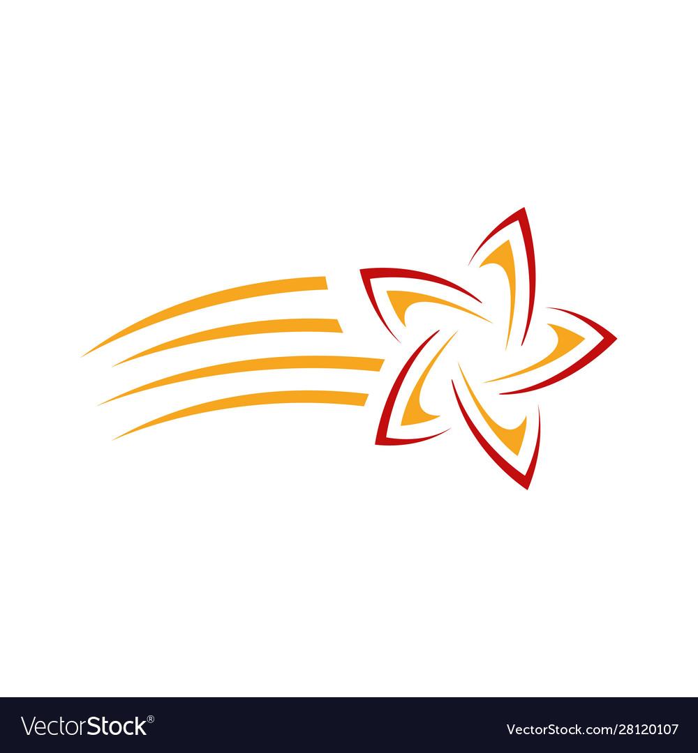 Abstract colorful shooting star logo icon.