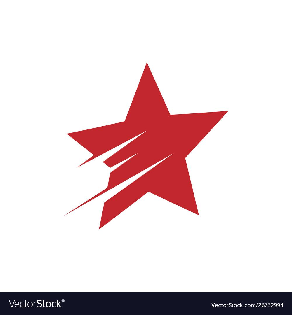 Red shooting star logo design.