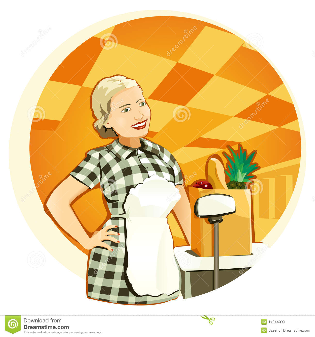 Shop Assistant Stock Illustrations.