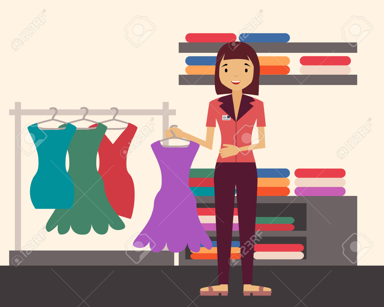 Sales Clerk. Girl Holding A Dress In A Clothing Store. Vector.