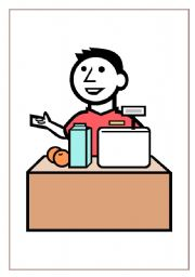 Shop assistant clipart.