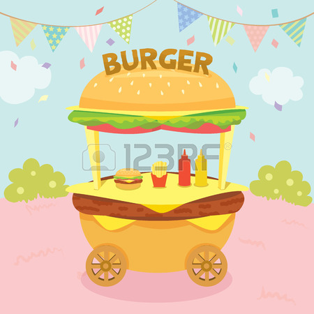 Illustration Vector Of Hamburger Cart Shop Decoration With.