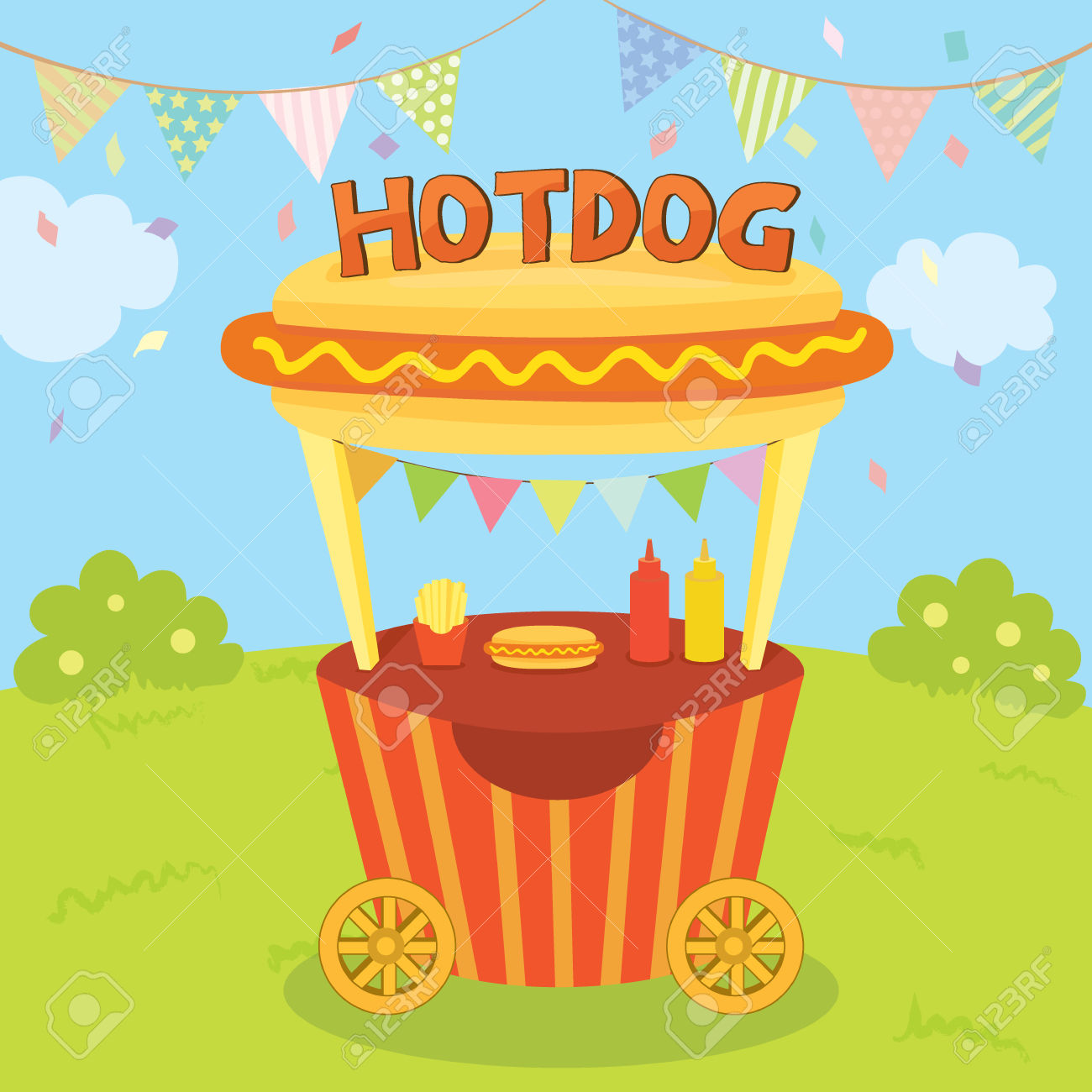 Illustration Vector Of Hotdog Cart Shop Decoration With Buntings.