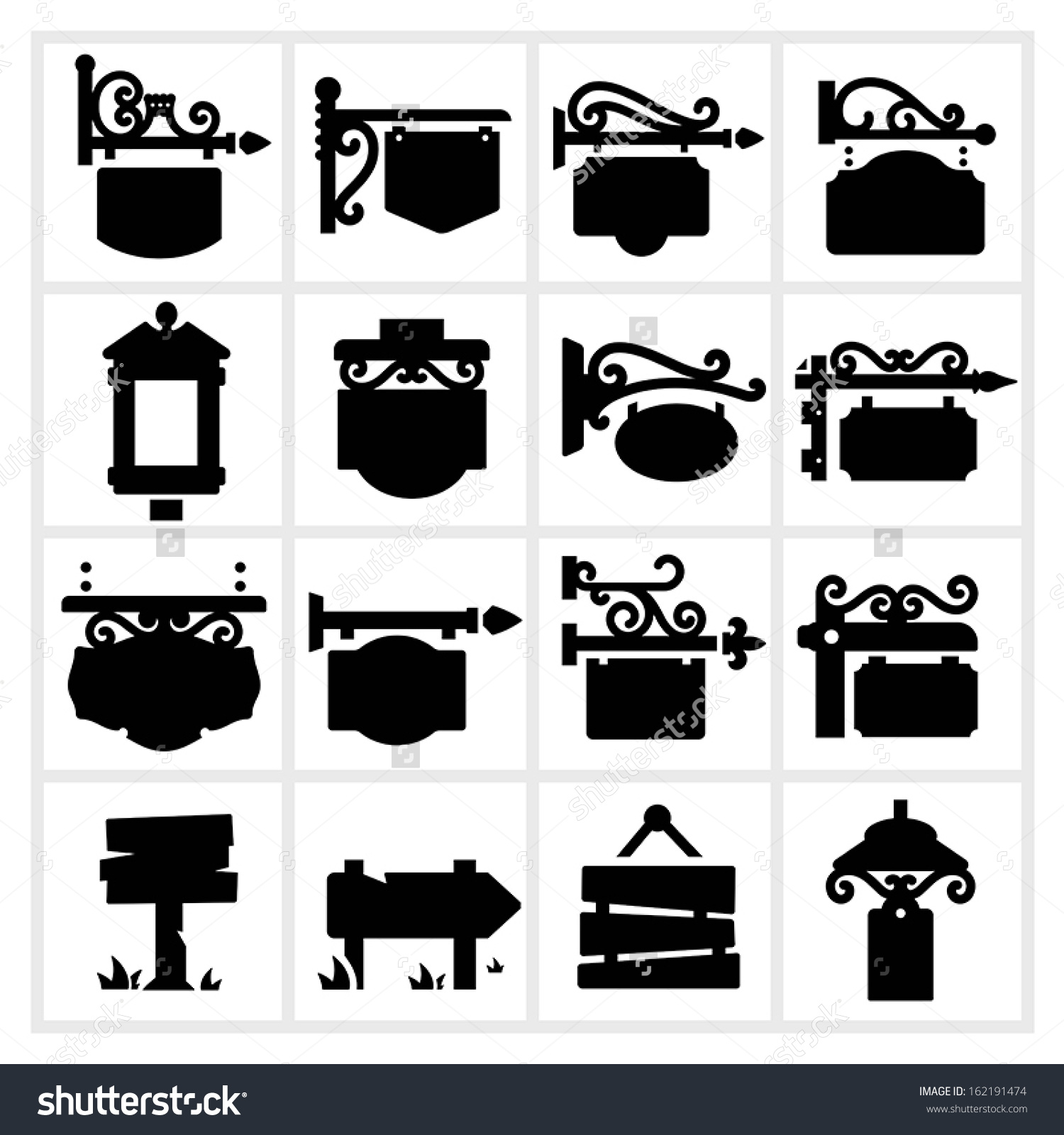 Hanging Sign Shop Store Signs Vintage Stock Vector 162191474.