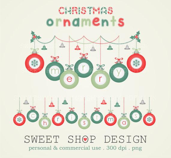 Christmas Ornaments Clip Art, Christmas Clip Art, Holiday Clip Art.