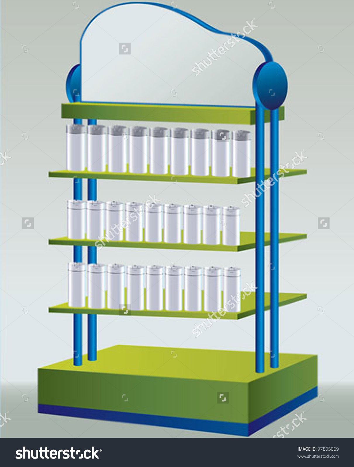 Shop Shelves Display Unit Stock Vector 97805069.