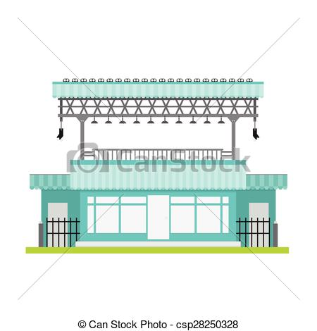 Vector Illustration of shop building vector front window gray blue.