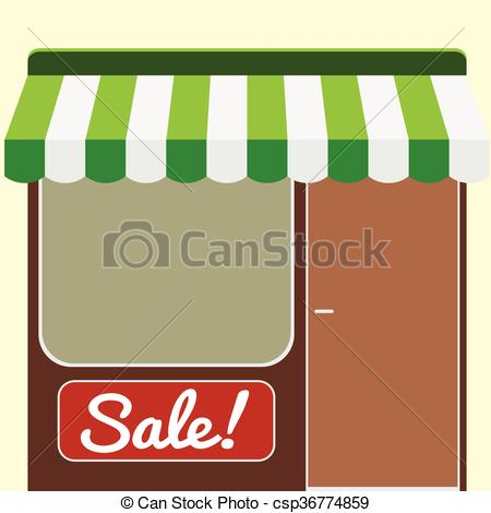 Clipart Vector of Showcase and entrance to the shop, can be used.