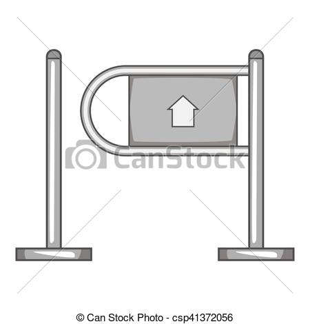 Clipart Vector of Shop entrance gate icon, gray monochrome style.