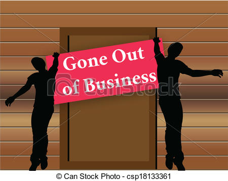 Clip Art Vector of Closing down sign in shop entrance.