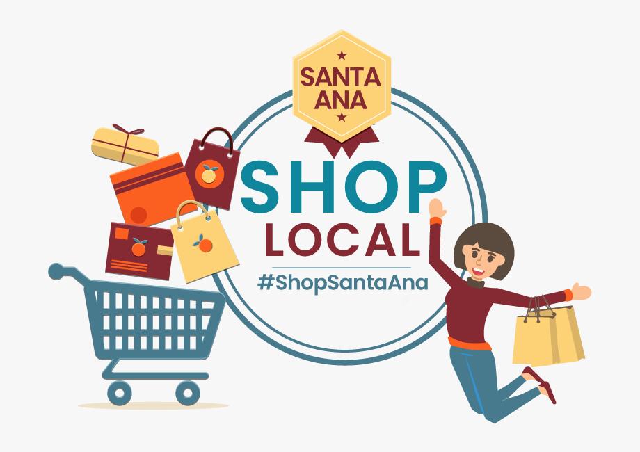 Santa Ana Shop Local Logo, Shopping Cart, Bags, Woman.