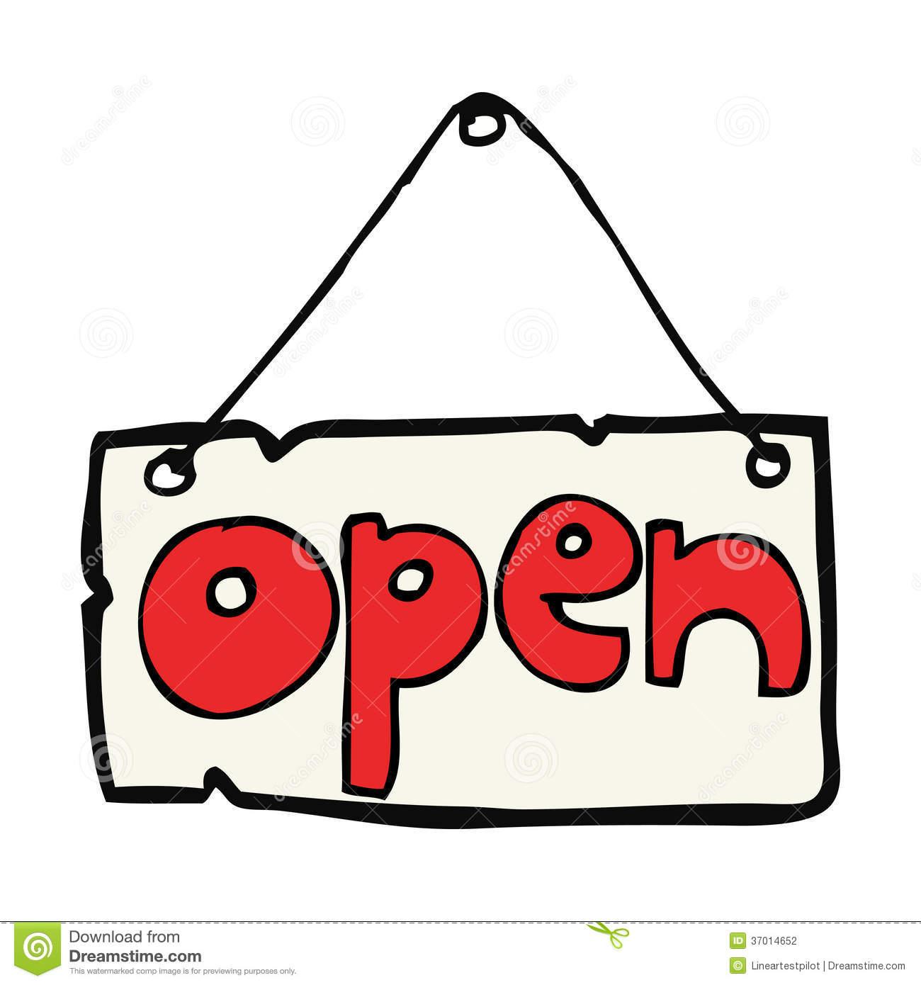 Cartoon Open Shop Sign Stock Photography.