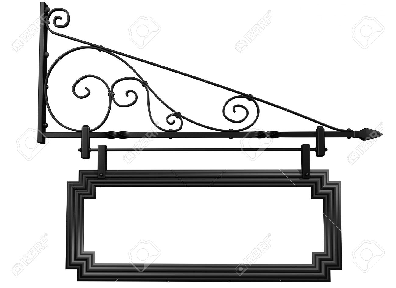 Illustration Of An Isolated Blank Shop Sign Stock Photo, Picture.
