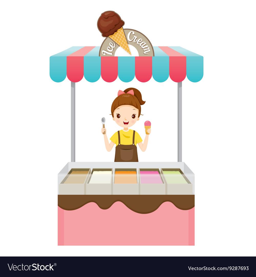 Girl With Ice Cream Shop.