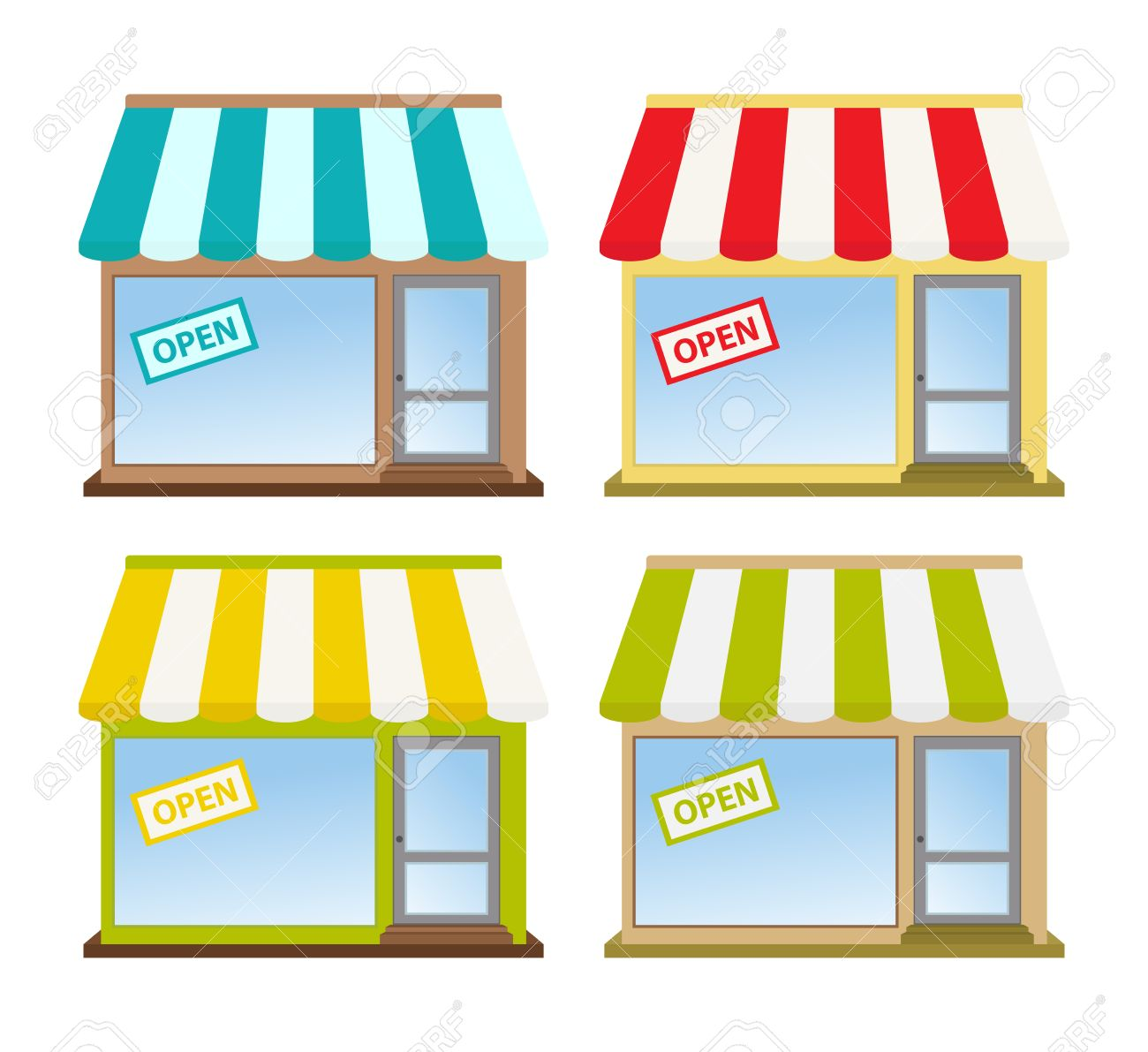 Four Color Store Fronts Royalty Free Cliparts, Vectors, And Stock.