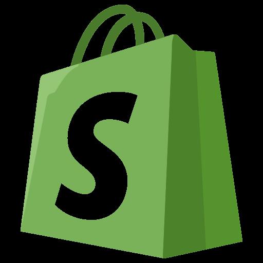 Ecommerce, logo, shopify icon.