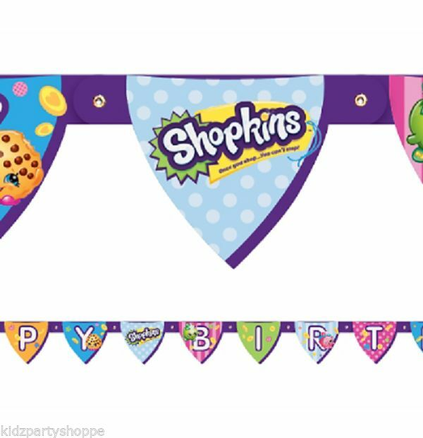 SHOPKINS Jointed Happy BIRTHDAY BANNER Party Supplies Décor Decorations Prop.