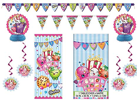 design wewr Shopkins Party Pack ~ Decoration Kit, Party Door Poster,  Banner, Tablecover.