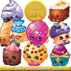 78 Sweet Treats Shopkins clipart Characters / Clip Art DIY Instant.