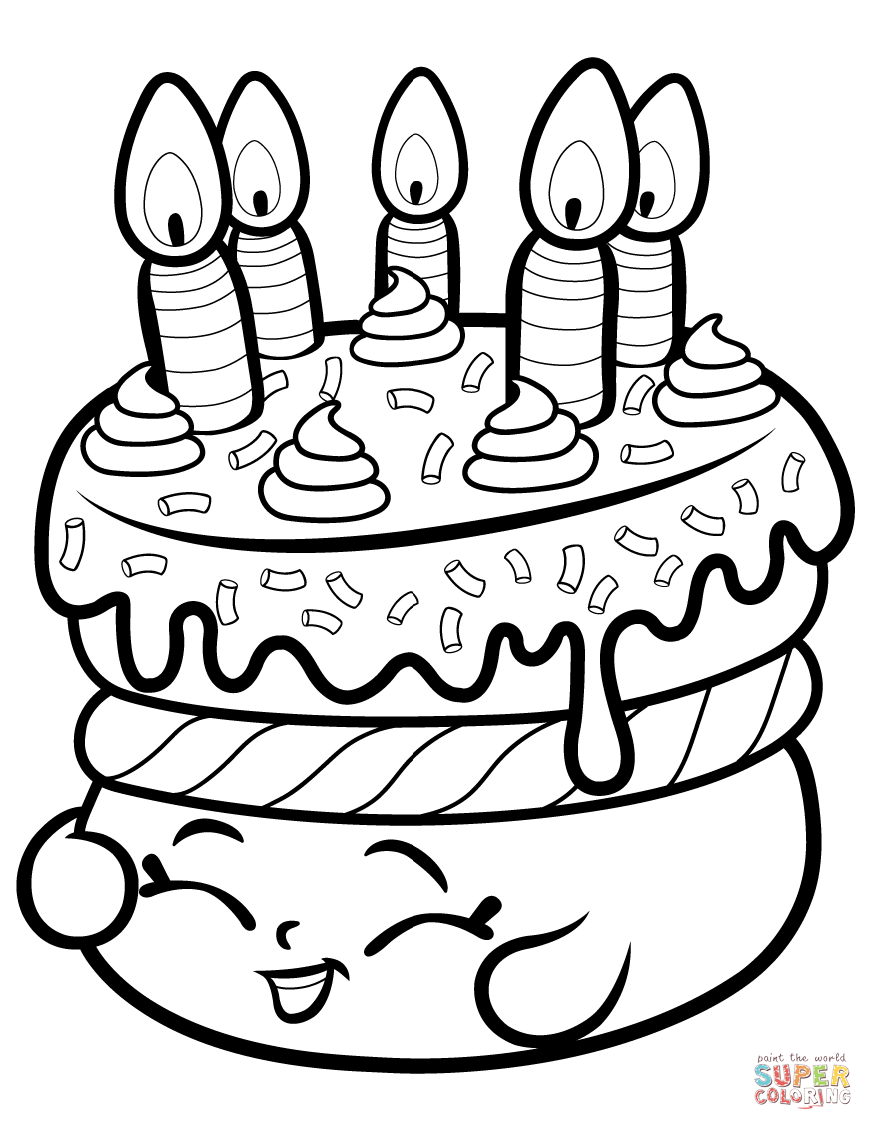 Shopkins Cake Coloring Pages.