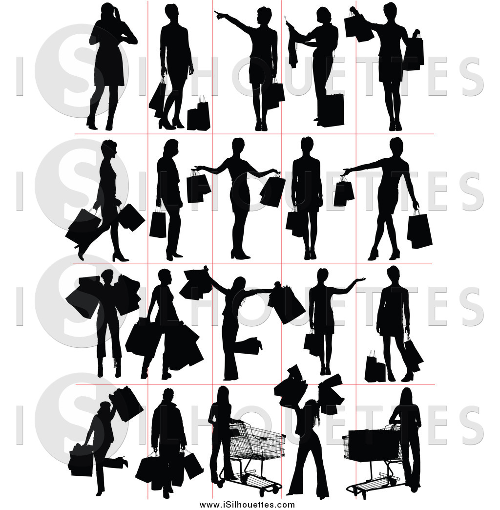 Clipart of Black Silhouetted Shoppers by leonid.
