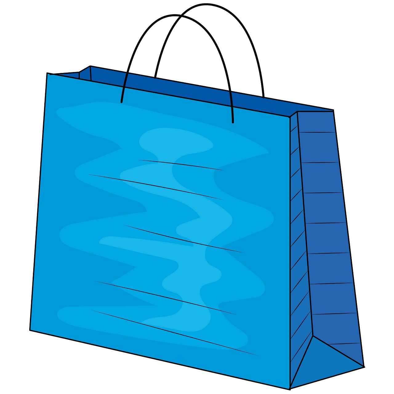 Blue shopping bag clipart. Free download..