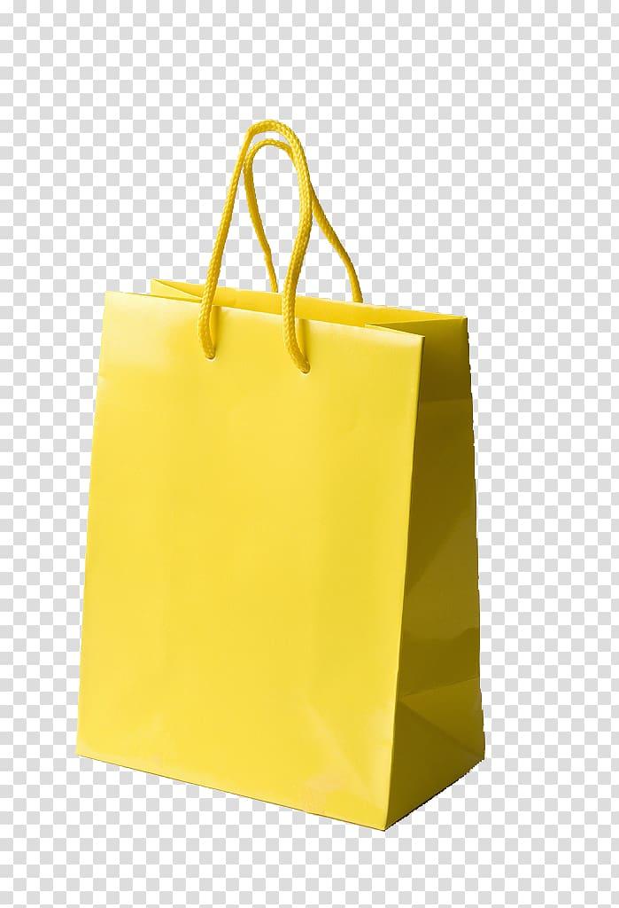 Yellow paper bag, Reusable shopping bag Paper, Yellow.