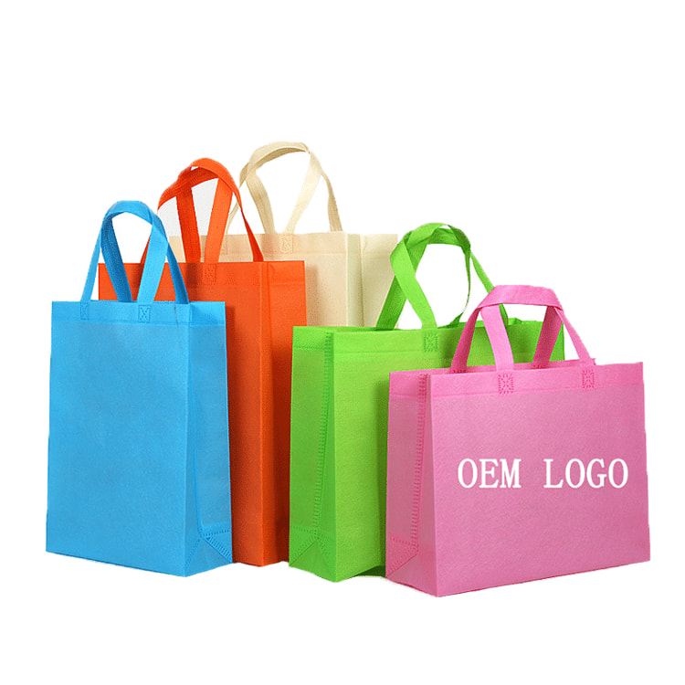 Custom Printed Logo Colorful Non Woven Reusable Shopping Tote Bag for  Promotional.