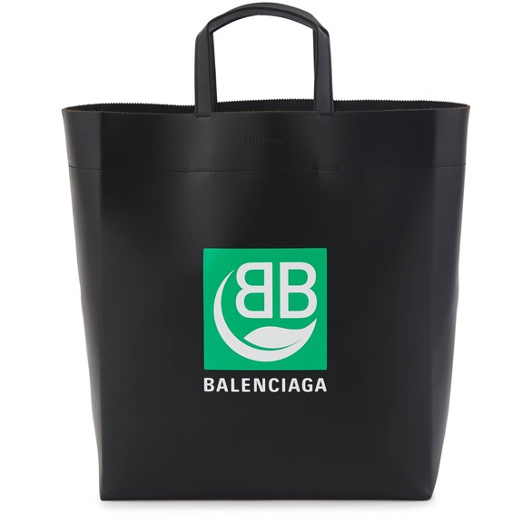 Green Logo leather tote bag.