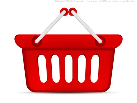 Free PSD red shopping basket icons Clipart and Vector.