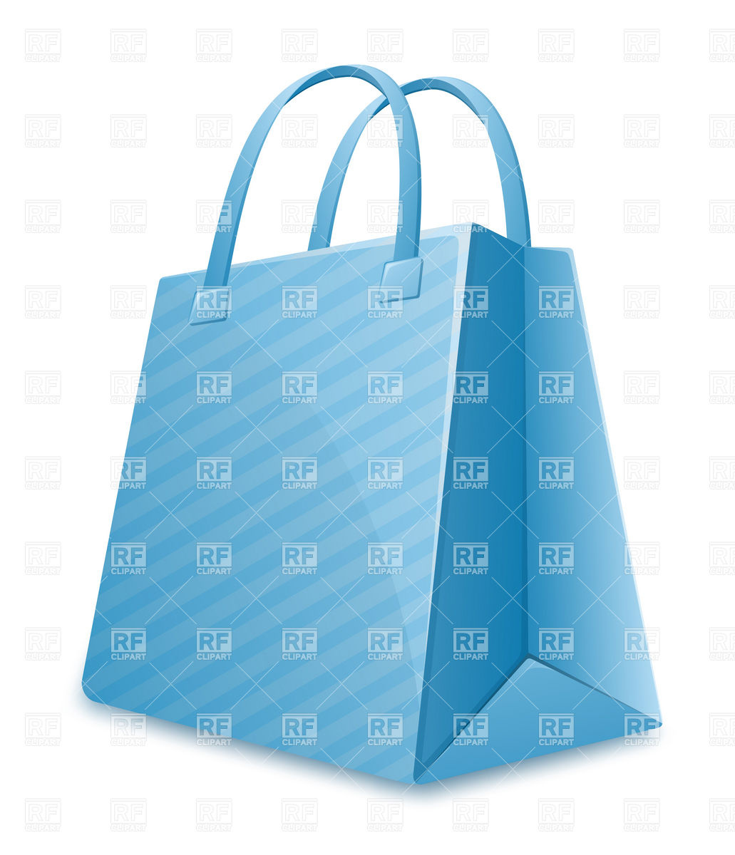 Blue striped shopping bag Vector Image #5446.