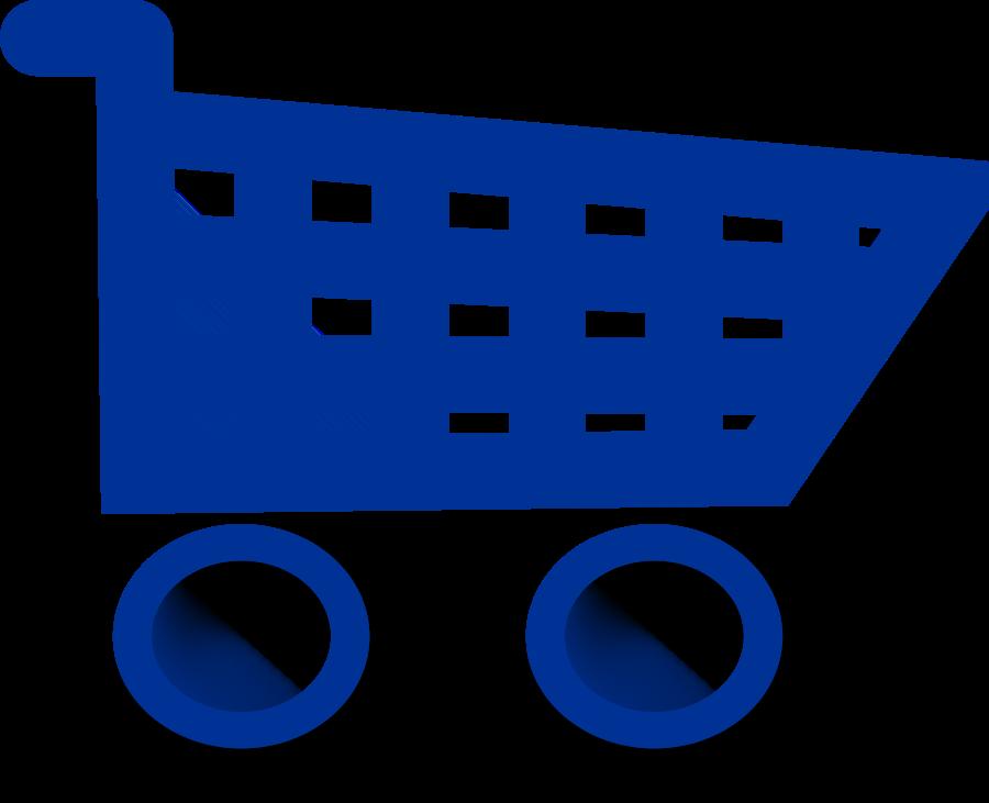 Blue shopping cart clipart.
