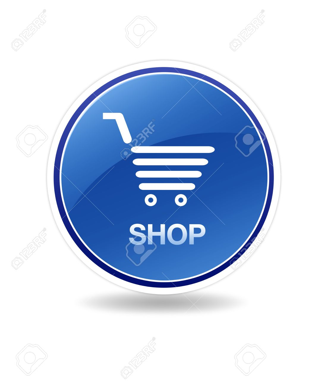 Blue Shopping Cart Clipart.