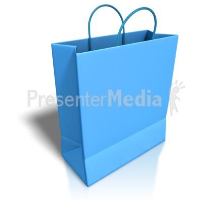 Empty Blue Shopping Bag.