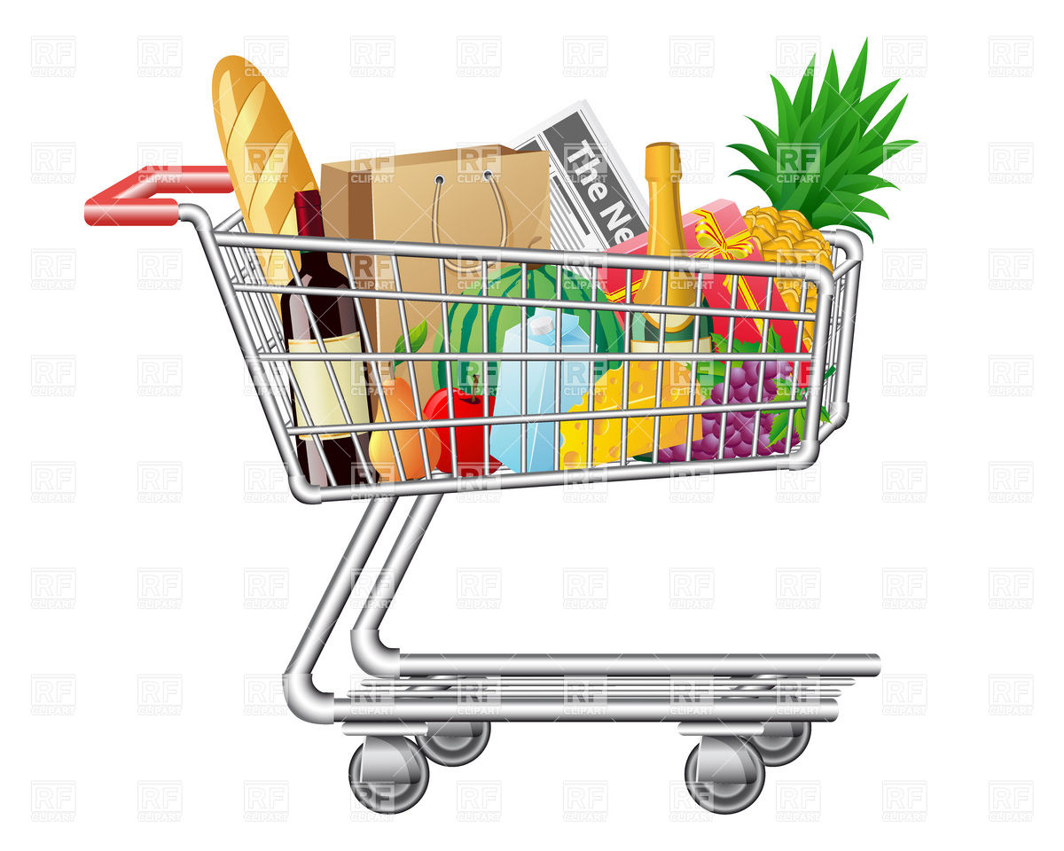 Grocery Shopping Cart Clipart.