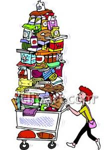 Overflowing Shopping Cart, Shopping Free Free Clipart.