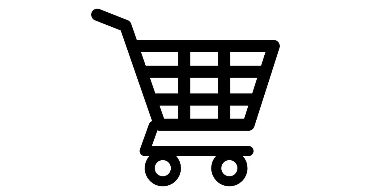 Shopping cart of checkered design.