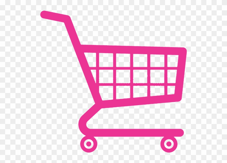 Pink Shopping Cart Icon.